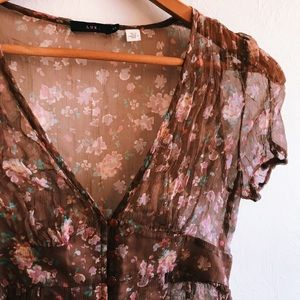 🌈 Urban Outfitters UO Silk Brown Sheer Floral Top